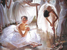 Skill China Painter 100% Handmade Ballet Dancer Oil Painting on Canvas High Quality Dance Room Figure Paintings for Home Decor(China)