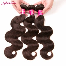 "Aphro Hair Brazilian Body Wave Dark Brown Color #2 Non-Remy Hair Bundles 1 Piece 100% Human Hair Extensions 8""-28"" Free Shipping(China)"