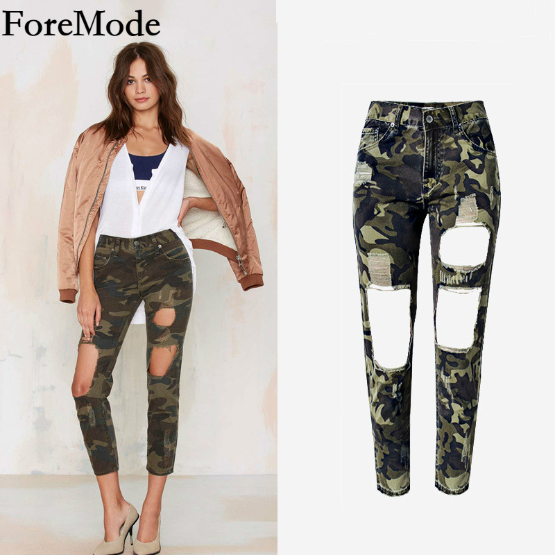 ForeMode Womens Ladies Loose Waisted Heatwave Camouflage Hole Nine Jeans  Plus Size american apparel women jeans ripped jeans Одежда и ак�е��уары<br><br><br>Aliexpress
