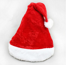 Adult High-quality velvet short plush Christmas Hat Caps Santa Claus Father Xmas Cotton Cap Christmas Gift Retail Christmas gift