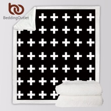 BeddingOutlet Microfiber Velvet Silky Soft Sherpa Reversible Blanket Modern White Cross Pattern All Season Blanket For Bed Couch