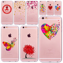 Watercolor Butterfly Pink Love Heart Case For iphone 6 6s 5 5s se 7 7Plus Transparent Silicon Protective Cell Phone Cases Cover(China)