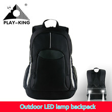 40L outdoor sport LED lamp backpack high school bag men women bags computer travel night safety spotlight multifunction 2017 new(China)