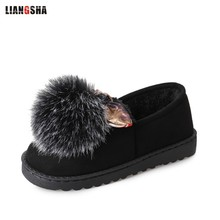 LIANGSHA Flat with bow hair ball shallow mouth plus cotton warm shoes flat shoes womens oxfords creepers espadrilles creepers(China)