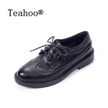 British Style Oxfords Shoes Women Leather Brogues Designer Vintage Flats Lace up moccasins 2017 Spring Ladies Casual Shoes Black(China)