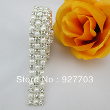 (CM101) 1 Yards 3 Rows Clear Crystal Rhinestone Ribbon Diamond Pearl Wraps Sewing Craft(China)