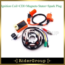 Racing Ignition Coil 6 Pins AC CDI Box A7TC Spark Plug 8 Poles Magneto Stator For Chinese GY6 125cc 150cc Moped Scooter