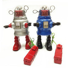 Antique Style Tin Toys Wind Up Toys Robots iron Metal Models for Children/Adult Home Decoration Craft TR2051 PISTON ROBOT(China)