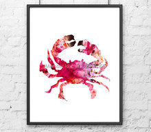New kids children wall decor Red crab sea ocean animal print painting living room bedroom home abstract wall art picture decor