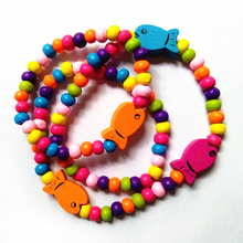 12 set/lot New Style Elastic Rope Children's wood Beads Necklace Bracelet Fish Combination Environmental Beautiful Gifts(China)