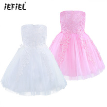 New Flower Girl Dresses for Wedding Pageant White Princess Print First Communion Lace Dress for Girls Junior Child Formal Dress(China)