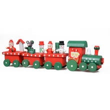 1 Set Kids Baby Lovely Painted Wooden 4 Piece Little Train Models Blocks Children Christmas Ornament Decoration Toys Good Gifts