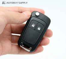 AUTOKEY SUPPLY 2 Button Flip Remote Car Key Shell Suitable For Chevrolet Cruze Aveo And Other Vehicle Models. Free Shipping(China)