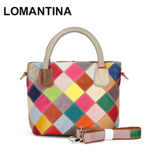 Retail and Wholesale Women Shoulder Bags Small Bucket Bag Colorful Patchwork Genuine Leather Designer Handbag High Quality