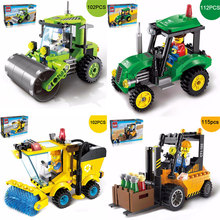 New City Series City Road Roller Forklift Truck Tractor Sweeper Truck Model Building Blocks City Worker Figures Bricks Kids Toy