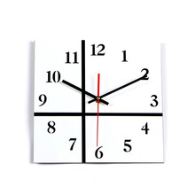 New 2017 Square Wall Clock Black White Clock Silent Home Decoration Acrylic Wall Watch Living Room Modern Relogio De Parede Gift(China)