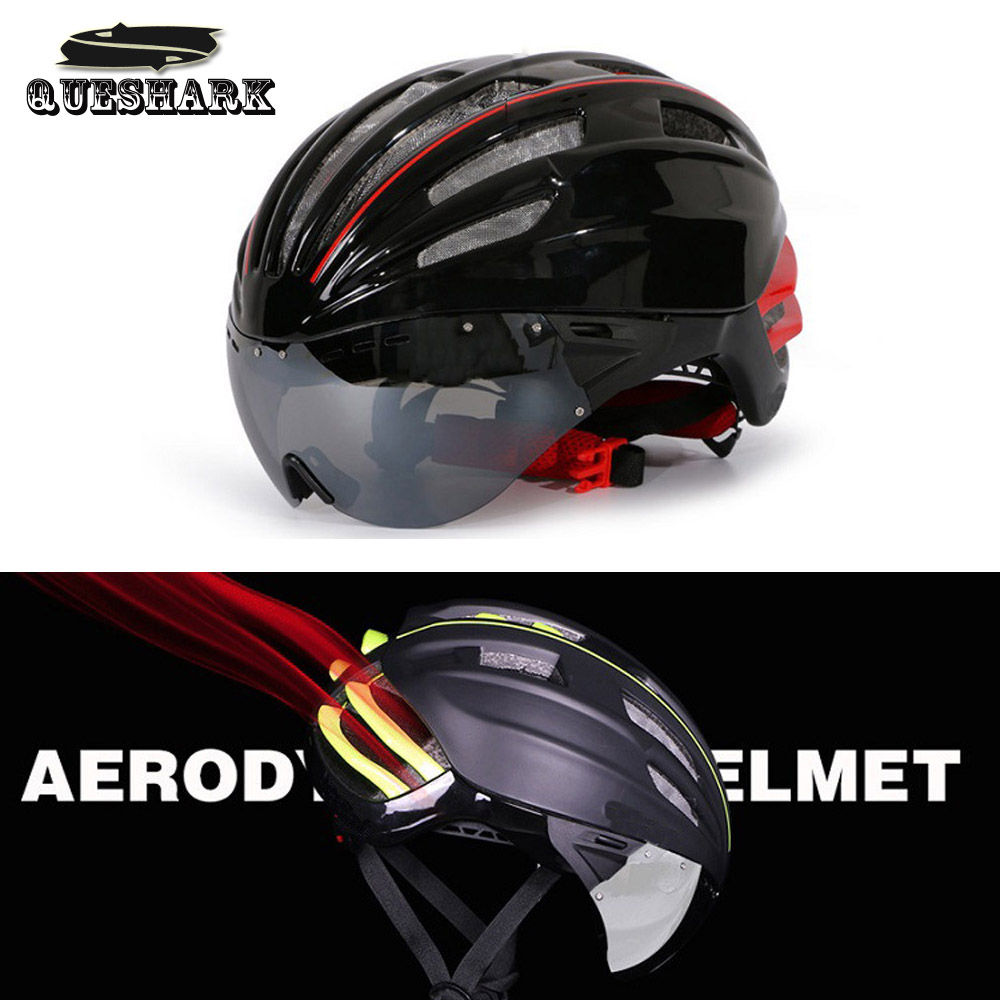 Queshark Cycling Helmet Road Mountain Bike Helmet Ultralight Integrated Bicycle Helmet With Glasses for Men Women<br><br>Aliexpress