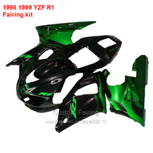 Moto Fairing kit  For YAMAHA YZF R1 98 99 ( Black & Green ) yzfr1 1998 * 1999 Fairings free custom ll62