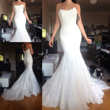 Sexy Vintage Strapless Mermaid Wedding Dresses 2017 Lace Applique Formal Long Elegant Bridal Gown