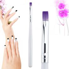 Single 1PC UV Gel Drawing Painting Brush Pen Nail Art Brush For Manicure DIY Beauty Tool Purple Color Hair with white handle