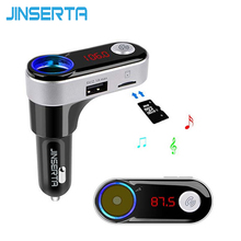 JINSERTA 2017 MP3 Music Player Bluetooth Handsfree FM Transmitter Car Kit Support TF Card with Cigarette Socket Dual USB Charger(China)