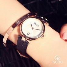 GUOU Classic Fashion Simple Style Ulta Thin Top Famous Luxury Brand Calendar Quartz Watch Wristwatch Women Leather Watches OP001(China)