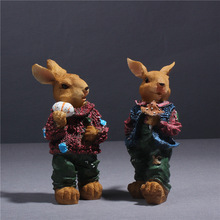 European resin crafts trend bunny, living room room shop exquisite decoration desktop animal ornaments(A153)(China)