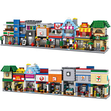 LOZ nanoblock mini street view diamond building block MacDonald Fried chicken shop Starbucks Coffee Apple 7-11 convenience store