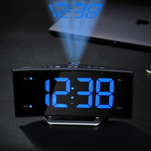 Arc led projection alarm clock Modern decoration Desktop clock with radio Student bedside snooze alarm clock Adjust brightness(China)