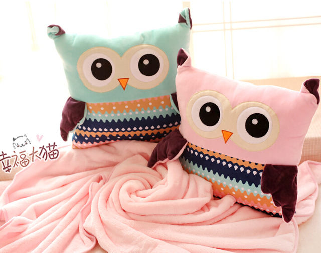 Candice guo plush toy stuffed doll cartoon sweet soft owl baby coral fleece baby blanket cushion pillow creative birthday gift<br>