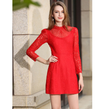 Elegant Luxury Runway Design Dress 2017 Summer New Women A-Line Red Lace Hollow Out Mini Short Dresses for Bridal Wedding Party