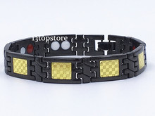 "Mens12.5MM Titanium Magnetic Therapy Link Bracelet Negative Ion Germanium Power Health Wrist Band 8.5"" Golden Silver Tone"