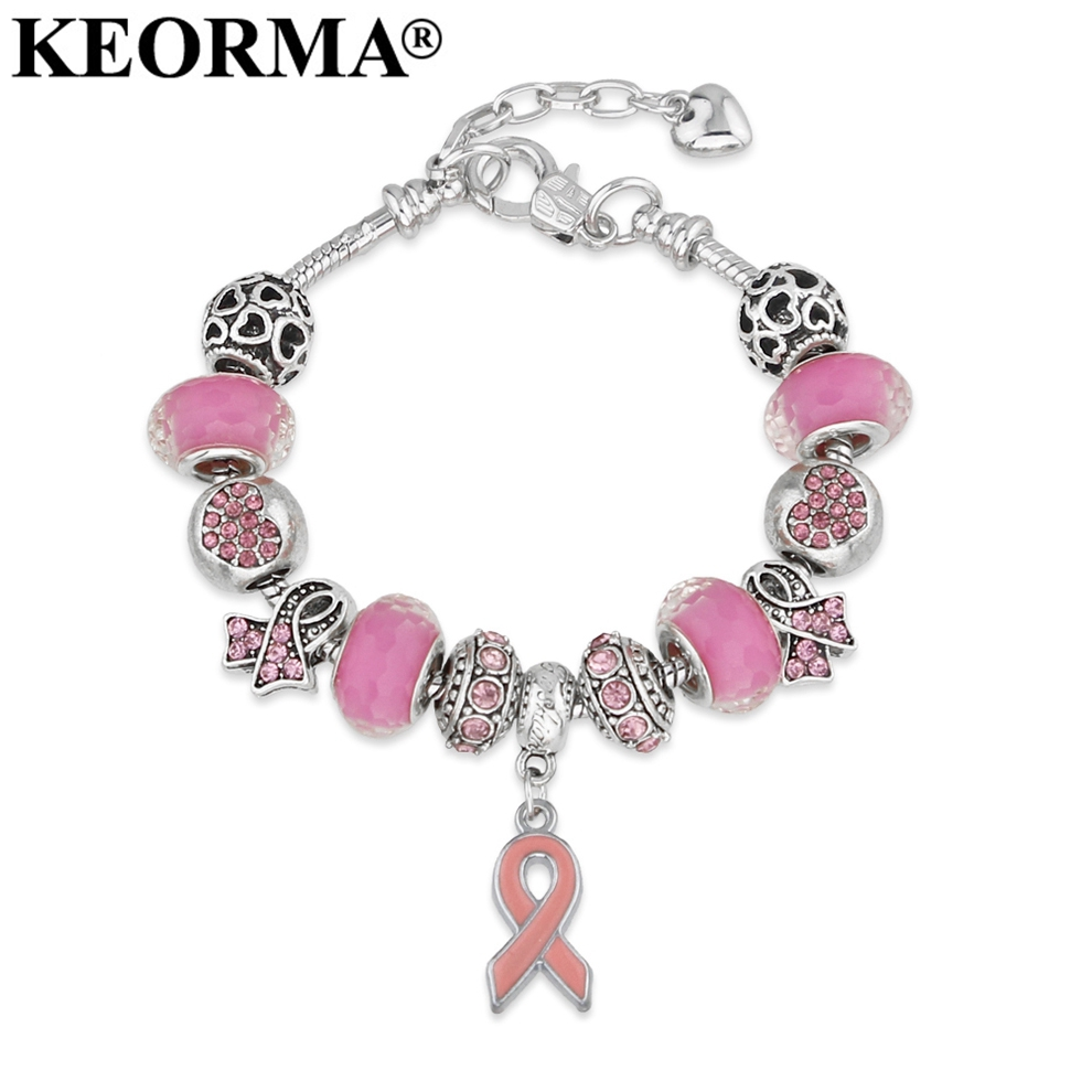 KEORMA Breast Cancer Awareness Pink Ribbon Pendant Heart Snake Chain  Adjustable Charm Bracelet   Bangles Women 770ec6aed661