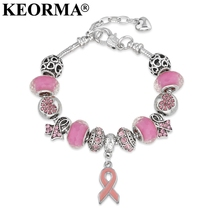 KEORMA Breast Cancer Awareness Pink Ribbon Pendant Heart Snake Chain Adjustable Charm Bracelet & Bangles Women Mother's Day Gift(China)
