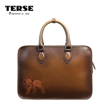 TERSE_Handmade Italian Leather Men's Briefcase Tobacco Color Manager Tote Bag DIY Logo Service Large Capacity Document Handbag(China)