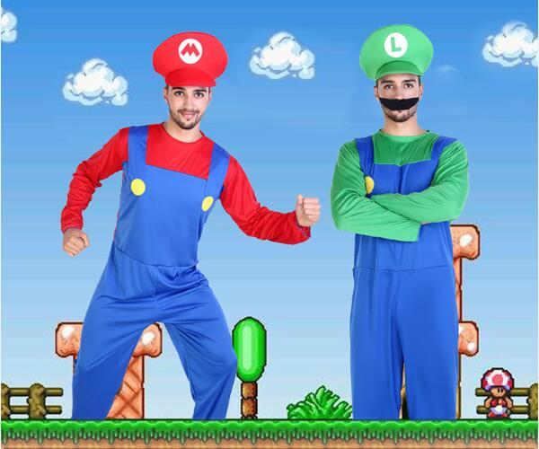 Easter Children Adult 2 Colors Super Mario Luigi Brothers Plumber Cosplay Performance Clothing SuperMary Costume For Children<br><br>Aliexpress
