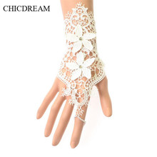 CHICDREAM White Bride Wedding Lace Bracelet Princess Glove Wrist Bridal Hand Accessories Gothic Women Bangles Prom Girls Jewelry