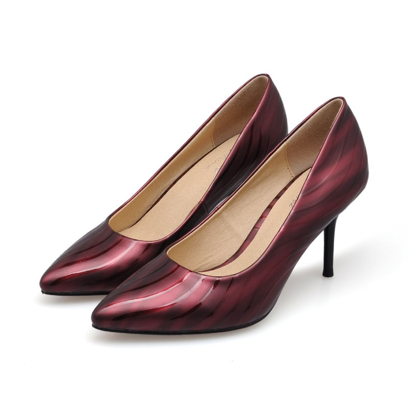 2017 Size 34-41 Fashion Water Ripples Sheepskin Wine Red Sexy High Heels Women Pumps Ladies Shoes Woman Chaussure Femme<br><br>Aliexpress