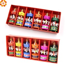 6PCS Cute Carrousel Creative Desktop Decoration Merry-go-round Wood Craft Christmas Ornaments  DIY Gift For Home Decor Kids Toys