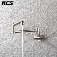 KES Commercial Stainless Steel Pot Filler Swing Arm Brushed Finish Wall Mount Single Hole Two Handle Kitchen Faucet , KUS924-2(China)