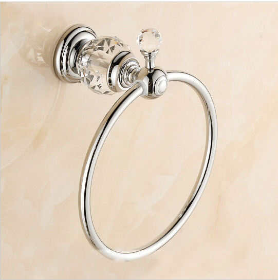 Luxury Crystal &amp; Brass Chrome Towel Ring,High Quality Towel Holder, New Arrivals Towel Bar Bathroom Accessories,Free Shipping<br>