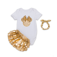 Newborn Baby Girl Clothes 3pcs Sets White Cotton Rompers Golden Ruffle Bloomers Shorts Headband Baby Body Wear Clothing