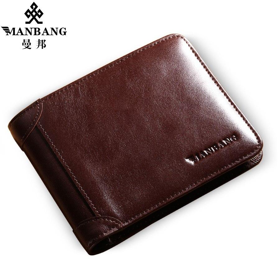 HOT 2017 New Manbang Brand cowskin leather wallet leather purse Popular Designer short money purse Black/Brown MBQ0075<br>