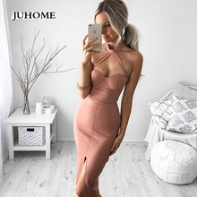 Buy 2018 Summer Sexy Women Dress Halter Split Backless Shoulder Bodycon Dress Elegant Pencil Evening Party Club Bandage vestidos