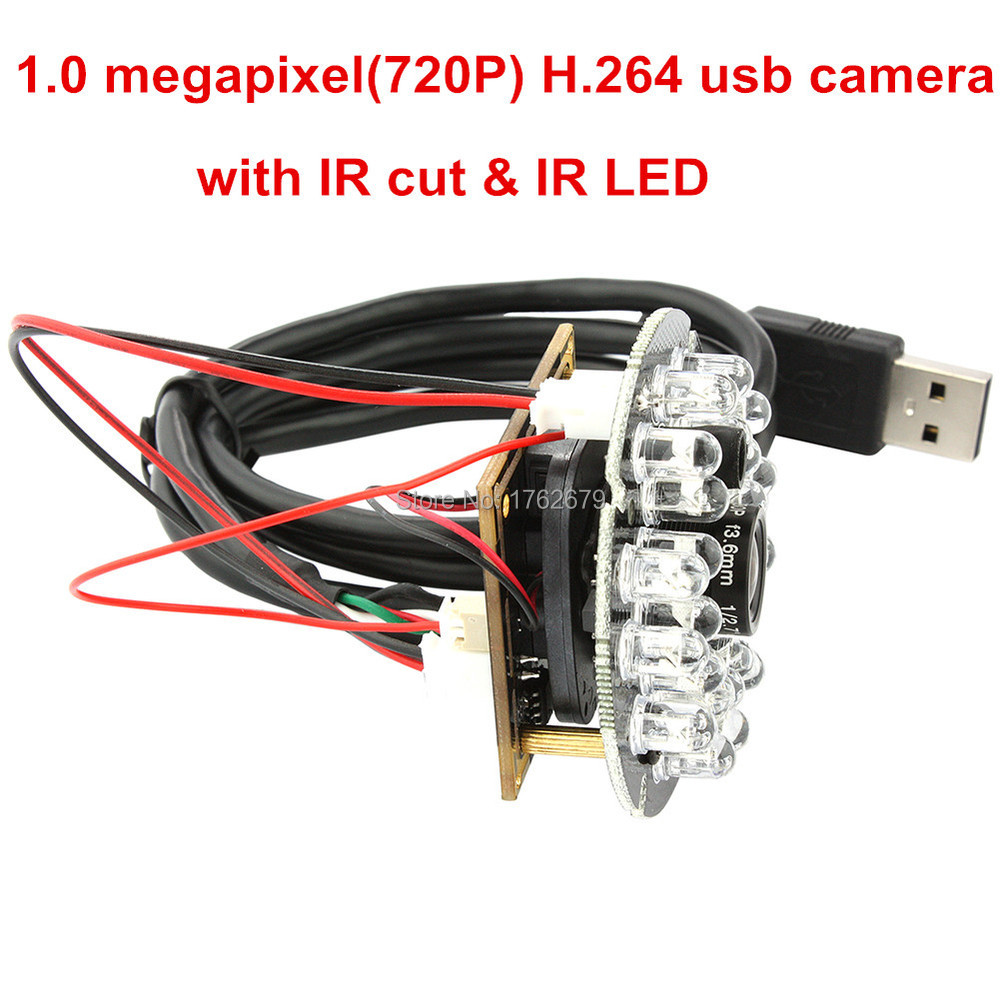 Night vision Microphone cmos H.264 30fps 1280*720 24pcs IR LED usb hd camera module 720p<br>
