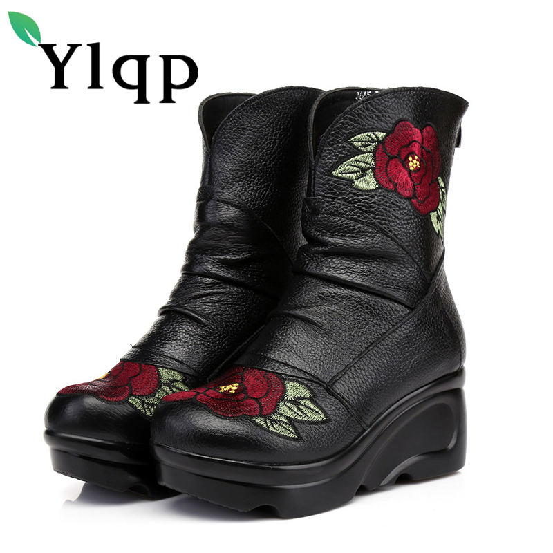 Ylqp 2018 Beauty Spring New Folk Style Women Genuine Leather Boots High and Thick Cotton Warm Shoes Woman Martin Boots Chaussure<br>