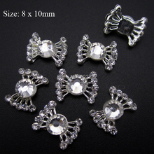 10pcs Clear Rhinestones Paved Bow Nail Art Decorations Silver Tone Supplies for Cellphone Case AM98