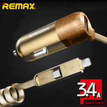 Remax USB Car Charger 3.4A with 1.5m Spring Shape 2 in 1 USB Cable for iPhone 5s 6 6plus micro usb for xiaomi Samsumng Huawei(China)