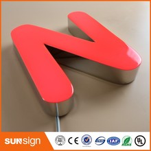 Glossy stainless steel return red epoxy resin LED channel letters sign