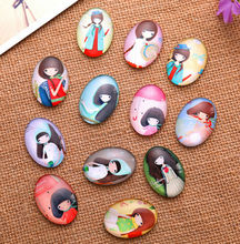 24X   13*18mm Cartoon girl pattern ellipse Handmade Photo Glass Cabochons & Glass Dome Cover Pendant Cameo Settings